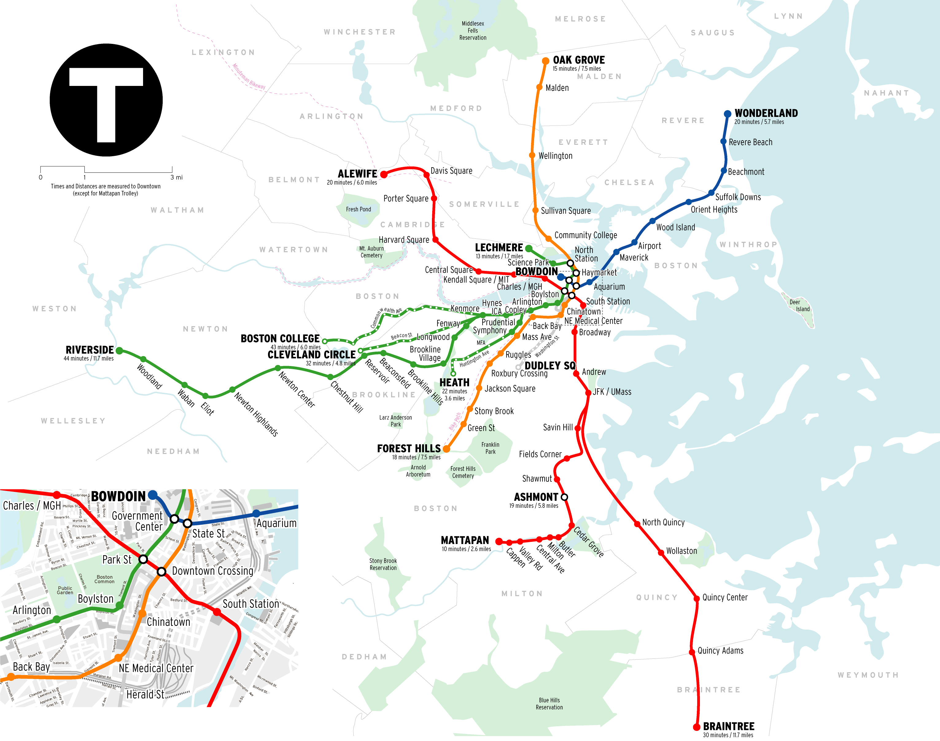 Boston Subway System Map