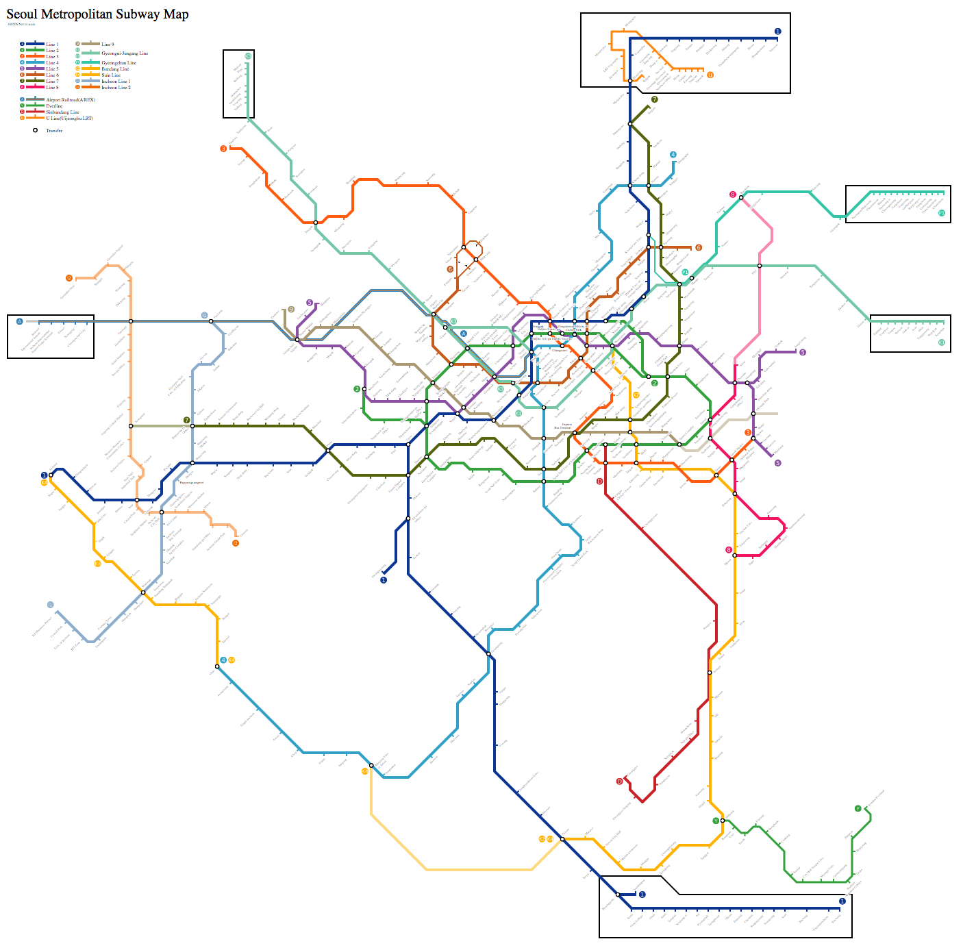Eoul Subway Map.Seoul South Korea Metasub