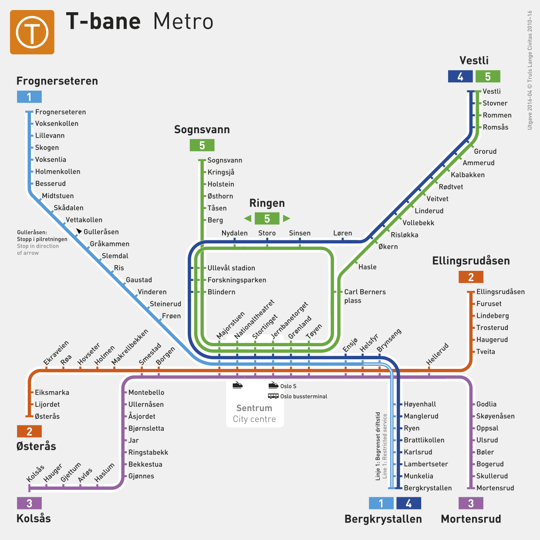 Oslo subway map